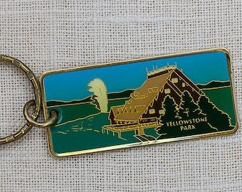 Vintage Yellowstone Park Keychain Key FOB Old Faithful Inn Brass Key Chain 7FF