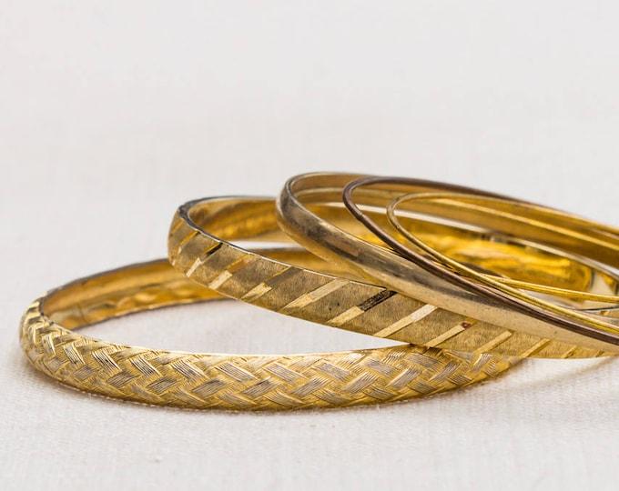 Gold Basket Weave Etched Diagonal Monet Vintage Bracelet Bangle Set Stackable Costume Jewelry Cuff 7AQ