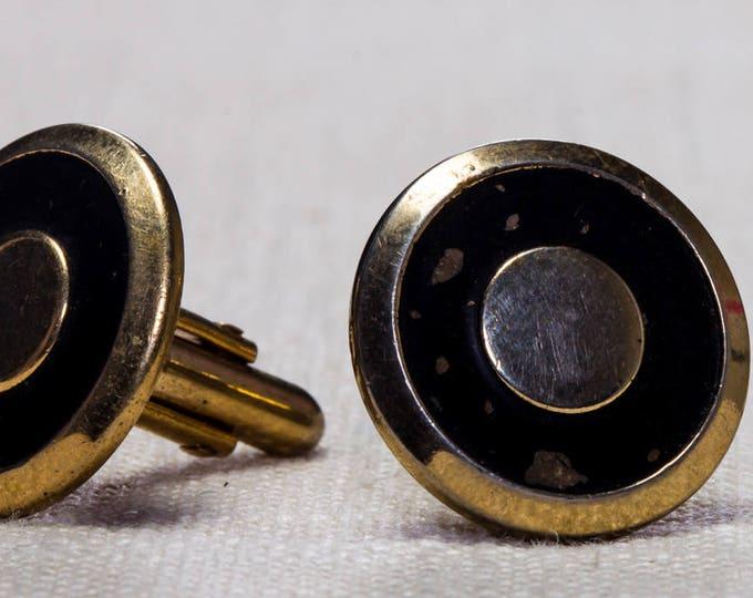 Vintage Cufflinks Round Gold and Black Button Style 1960s Men's Accessories Swank Brand Cuff Link Tuxedo Shirt Add On 7UU