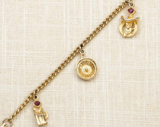 Gambling Theme Charm Vintage Bracelet Gold Purple Rhinestones Slot Machine Cowboy Roulette Chain Costume Jewelry 16S