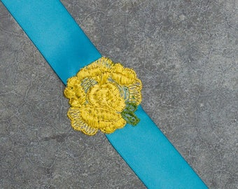 Teal Satin Ribbon Belt Yellow Embroidered Embellished Flower Blue Turquoise Colorful Handcrafted 264