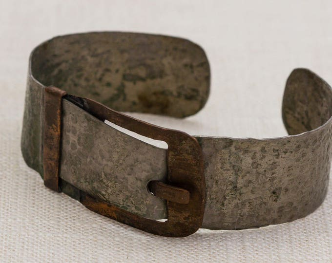 Metal Buckle Copper Pewter Silver Handmade Unique Vintage Bracelet Bangle Costume Jewelry Cuff 7AR