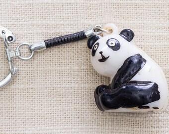 Vintage Panda Bear Keychain Black White Key FOB Key Chain 7FF B