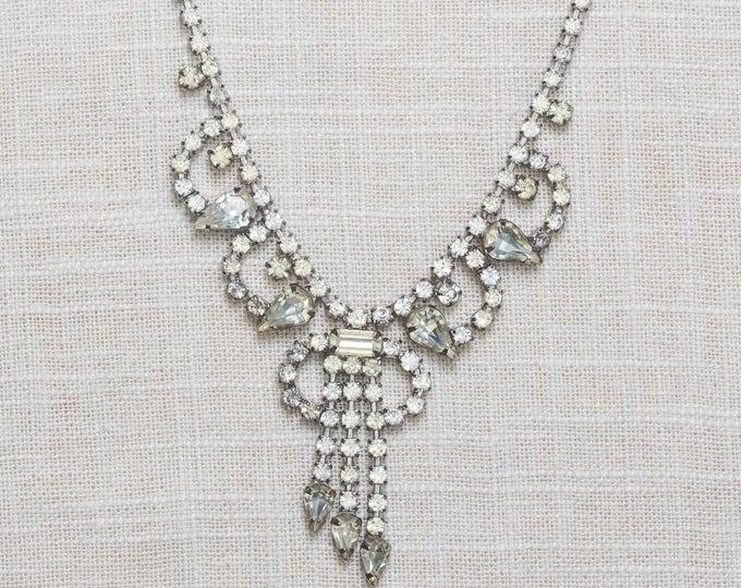 Rhinestone Vintage Necklace Bib Dangling Intricate Choker Crystal & Silver Costume Jewelry 7AA 6