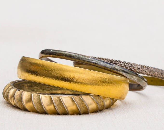 Gold and Silver Shiny Monet Textured Vintage Bracelet Bangle Set Stackable Costume Jewelry Cuff 7AQ