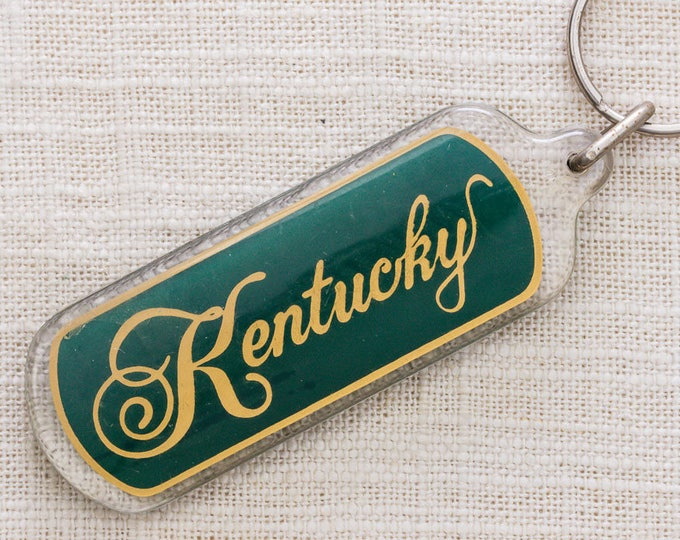 Kentucky Vintage Keychain Green and Gold Key FOB Key Chain 7KC