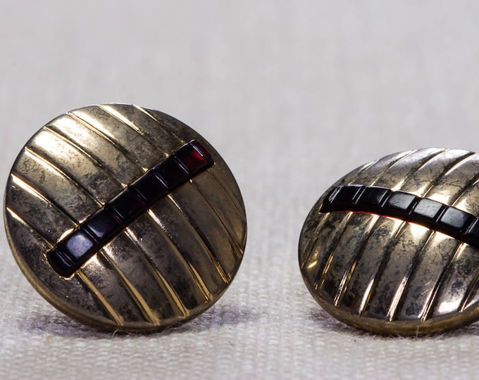 Vintage Cufflinks Gold & Black Round Button 1960s Men's Accessories Swank Brand Cuff Link Tuxedo Shirt Add On 7UU