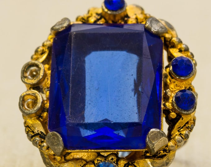 Cobalt Blue Rhinestone Vintage Ring Gold Metal Emerald Cut Victorian Style Statement Adjustable Size 7RI