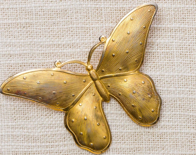 Gold Vintage Butterfly Brooch Mod Broach Vtg Pin 7ii