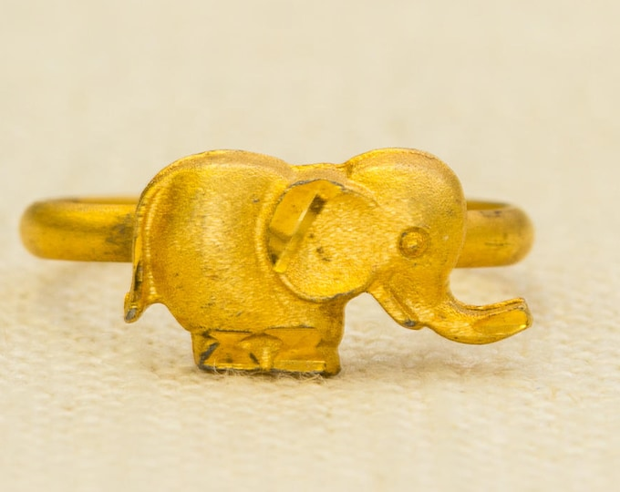 Elephant Vintage Ring Brushed Gold Metal Etched Pinkie Adjustable Size African Animal 7RI