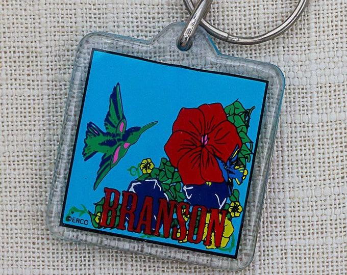 Branson Keychain Vintage Missouri Colorful Bird Red Flower Key FOB Key Chain 7PP