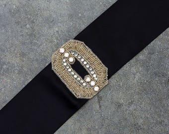 Black Satin Ribbon Belt Rhinestone Art Deco Embellishment Block O Frame Sash 242 243