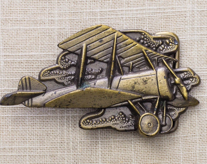 Biplane Belt Buckle Airplane Plane Pilot Oden Inc Vintage Belt Buckle 7MM