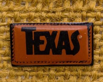 Texas Enamel Vintage Lapel Pin Rectangular Brown Black Button Vtg Pin 7AN