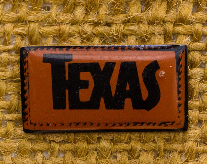 Texas Enamel Vintage Lapel Pin Rectangular Brown Black Button Vtg Pin 7AN