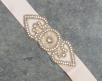 Blush Pink Ribbon Belt Neutral Satin Crystal Art Deco Double Hearts Embellishment Handmade Sash 344