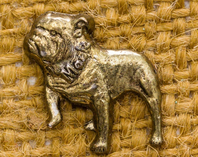 Gold Bulldog Mack Vintage Lapel Pin Bull Dog Silhouette Button Vtg Pin 7AN 3