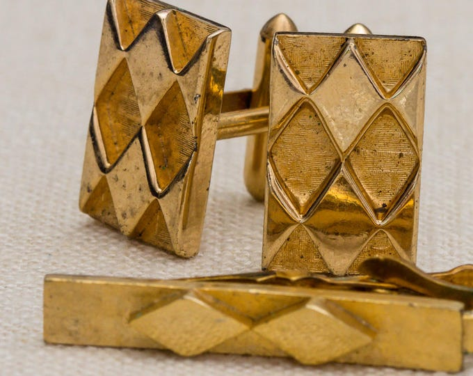 Diamond Pattern Cufflinks and Tie Clip Set Vintage Gold Rectangular Etched Swank Brand Men's Accessories Cuff Link Tuxedo Shirt Add On 7UU