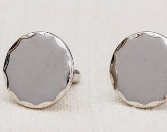 Silver Round Cufflinks Vintage Hammered Edge Shiny Swank Brand Men's Accessories Cuff Link Tuxedo Shirt Add On 7UU