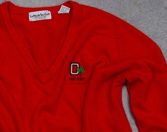 Vintage Ohio State Sweater Super Soft Bright Red Scarlet Neck Block O Jumper | VTG OSU Size XL Bucks | Columbus Ohio 7U