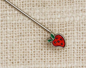 Strawberry Stick Pin Silver Red Green Small Vintage Stickpin 7R
