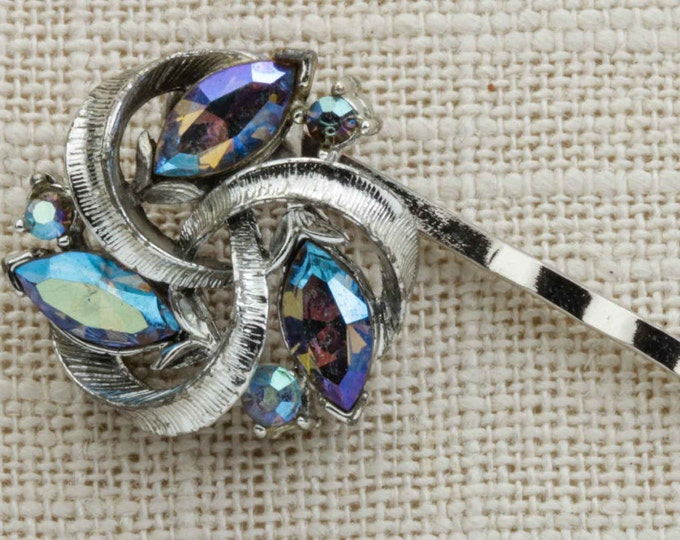 AB Iridescent Swirls Hair Clip Embellished Bobby Pin Silver Handmade in USA Hair Pins 16V