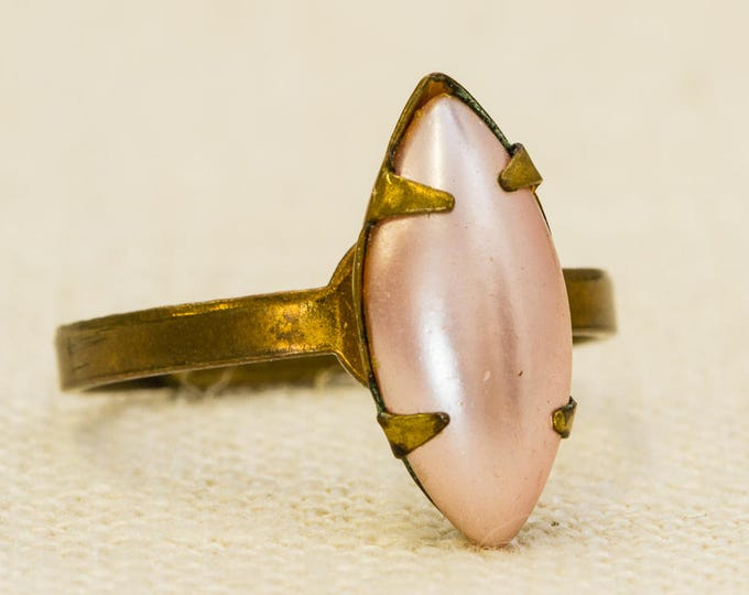 Pearlized Pink Marquise Vintage Ring Blush Antique Brushed Gold Adjustable Size 7RI