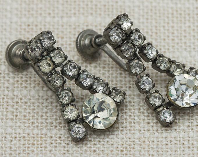 Vintage Earrings Clip On Rhinestone Dangle Chandelier Silver Clipons Vtg 7LL
