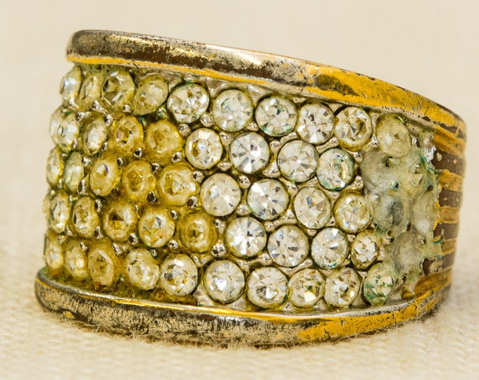 Rhinestone Vintage Ring Gold Thick Band Cluster Stones US Womens Size 5 7RI