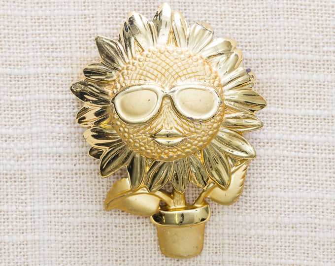 Gold Sunflower Brooch Vintage 1990s Broach Vtg Pin 7ii