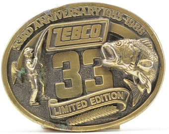 Fishing Vintage Belt Buckle Country Zebco 33 Fishing Pole Limited Edition 33rd Anniversary 1988 Angler Brass 16B
