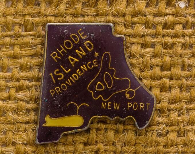 Rhode Island Enamel Vintage Lapel Pin Button New Port Brown Gold Yellow Vtg Pin 7AN
