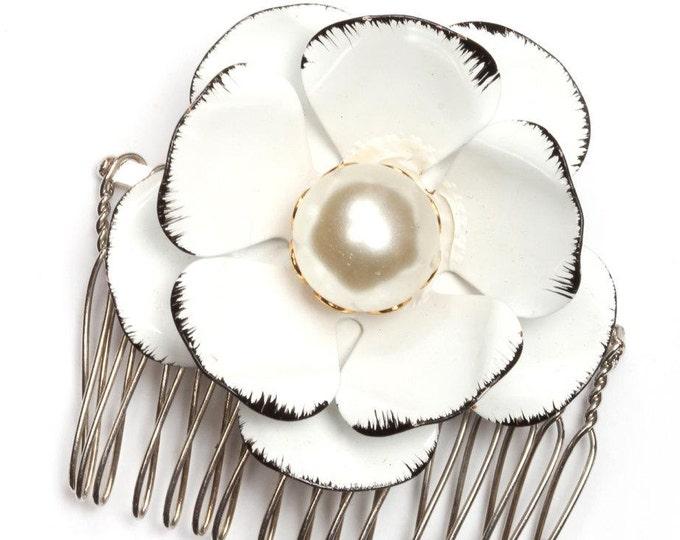 Black and White Flower Hair Comb Handcrafted Brooch Pearl Repurposed Vintage Enamel Headpiece Head Piece 58