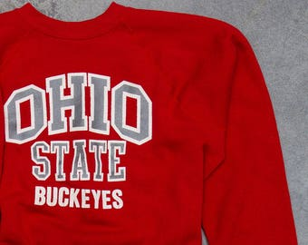 Vintage Ohio State Sweatshirt Buckeyes Sweatshirt OSU | VTG Fleece Size LARGE Bucks Columbus Ohio Scarlet & Gray Red | 7U