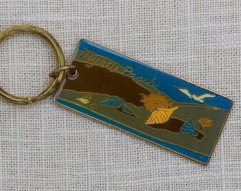 Vintage Myrtle Beach Keychain Seashells Sea Gull South Carolina Key FOB Brass Key Chain 7FF