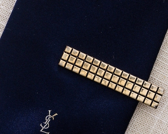 Gold Geo Square Checker Pattern Vintage Tie Clip Hickok USA Men's Accessories Add On 7WW