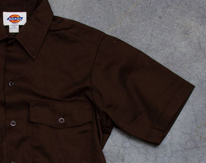 Brown Dickies Uniform Men's Shirt Vintage Size Medium Button Down Top Work Wear Hipster Mens 7W