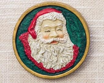 Vintage Santa Claus Pin Xmas Holiday Christmas Kris Kringle St Nicholas Red Green Gold Brooch 14H A