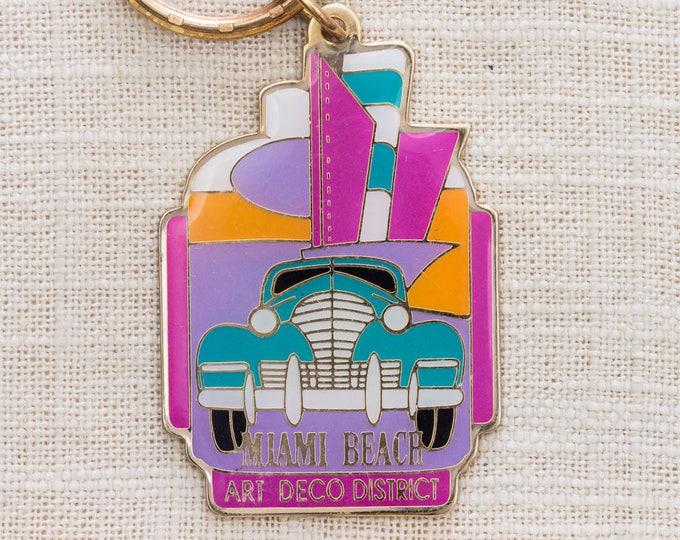 Miami Beach Art Deco District Vintage Keychain Colorful Retro Pink Aqua Car Florida Key FOB Brass Key Chain 7KC