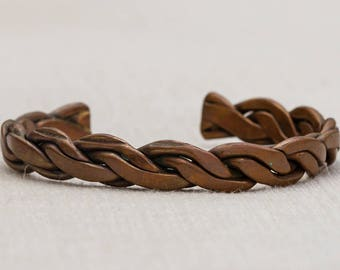 Bronze Twisted Chain Link Copper Metal Vintage Bracelet Bangle Costume Jewelry Cuff 7AR