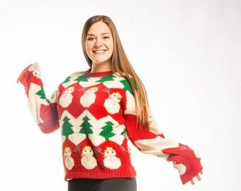 Vintage Snowman Christmas Sweater MEDIUM   Christmas Tree Winter Holiday Ugly Christmas Sweater Jumper 7CI