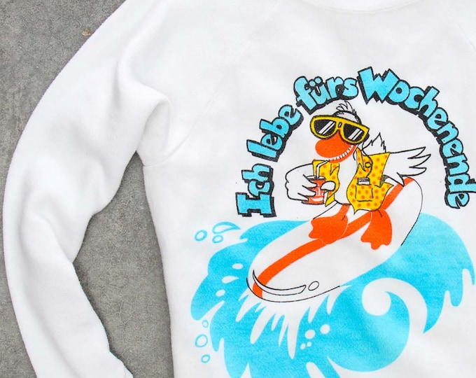 "Weird German Duck Sweatshirt ""Ich Iebe Furs Wochenende"" Weekend Vintage Fleece XS Fleece 7NN"