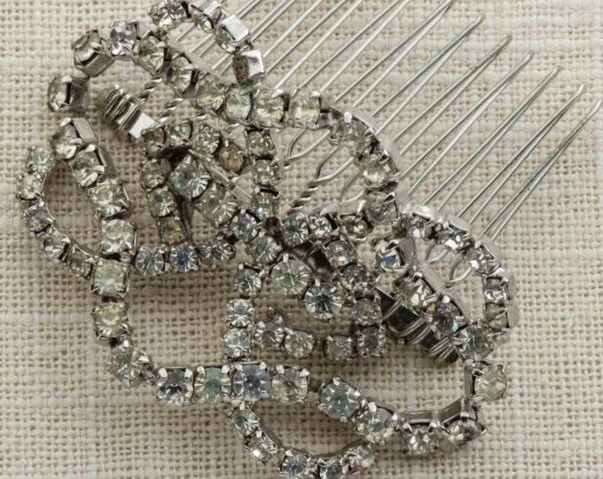 Rhinestone Curved Hair Clip Embellished Comb Handmade in USA Hair Pins 16V