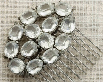 Rhinestone Oval Shaped Hair Clip Embellished Comb Handmade in USA Hair Pins 16V