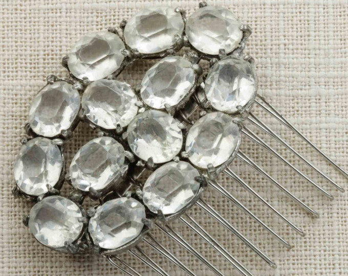 Rhinestone Oval Shaped Hair Clip Embellished Comb Handmade in USA Hair Pins 16V