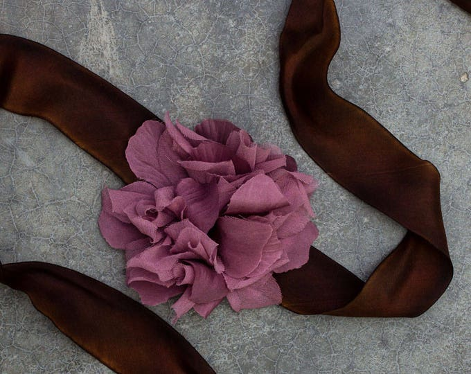Brown and Purple Ribbon Belt Chocolate Silk Plum Lavender Hand Made Silk Flower 250