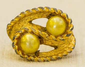 Gold and Pearl Vintage Ring Abstract Rope Design Adjustable Size 7RI