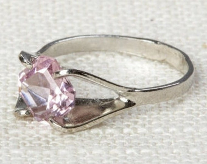 Pale Pink Rhinestone Vintage Ring Silver 6.5 mm or 7.5 mm US Womens Sizes 7D