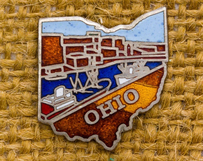 Ohio Lapel Enamel Pin Tie Stay Silhouette River Factory Boats Men's Accessories Collar Vintage Tack Add On 7WW