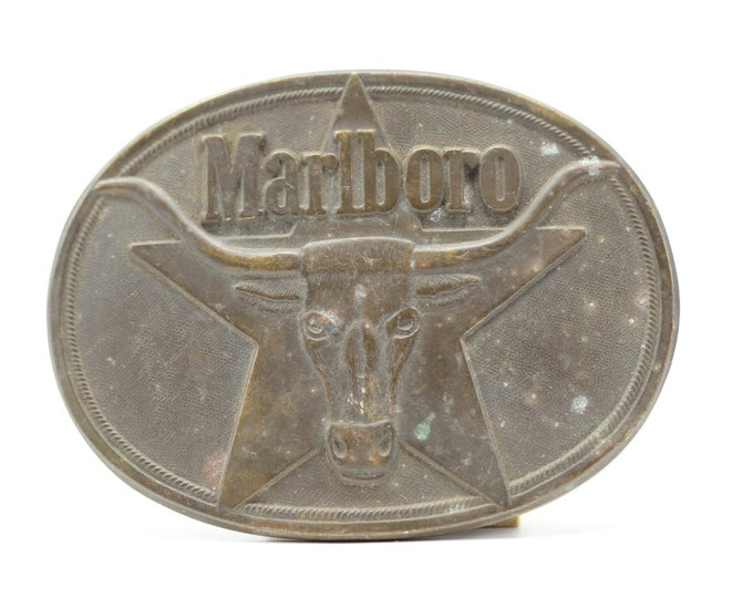 Vintage Marlboro Cigarette Belt Buckle Mens Womens Accessory Brass Smoking Cigarettes Advertising Smoker Star Longhorn 16B